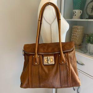 B. Makowsky brown cognac  leather large tote bag